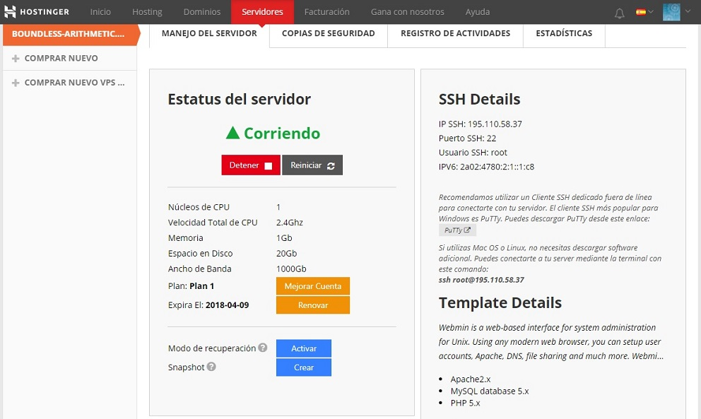 hostinger vps panel manejo servidor